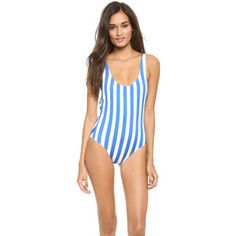 Solid & Striped Anne Marie One Piece Swimsuit - Bright Blue/Off White