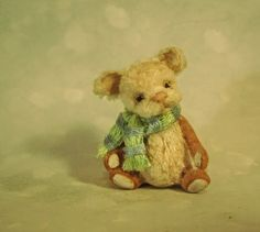 Aleah Klay Studio: Miniature Teddy Bear art doll w/ scarf dollhouse miniature sculpture by Aleah Klay SOLD