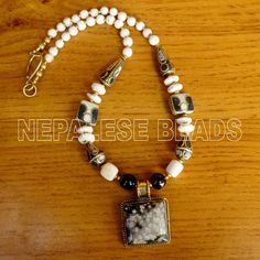 "N2236 Nepalese Handmade Design Conch Shell Black Brass Necklace 18"" Tibet Nepal #Eksha #Necklaces"