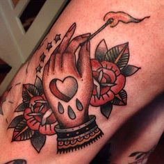 Angelique Houtkamp tattooed by Matthew Houston   surreal traditional hand and roses