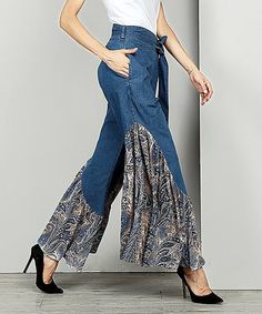 Look at this #zulilyfind! Indigo Chambray Contrast High-Waist Ruffle Palazzo Pants #zulilyfinds