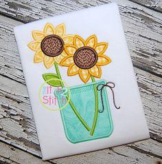 I2S Sunflower Jar Applique design