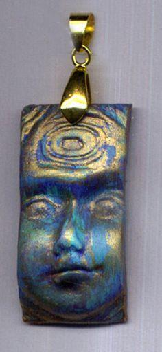 Polymer  Art Nouveau Goddess Face Ready to Wear Pendant by linsart,