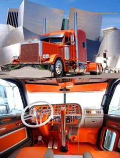 Orange custom Peterbilt inside and out would be a good Tennessee fan truck Show Trucks, Big Rig Trucks, Lifted Trucks, Old Trucks, Vintage Trucks, Bagged Trucks, Mack Trucks, Pickup Trucks, Custom Peterbilt