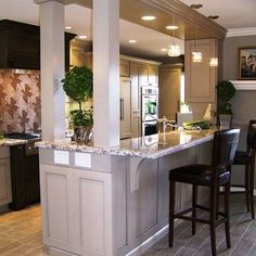 Kitchen Living Rooms Remodeling Galley Kitchen With Bar Separating Dining Room Design Ideas, Pictures, Remodel, and Decor - page 2 - Kitchen Living, Kitchen And Bath, New Kitchen, Kitchen Decor, Kitchen Ideas, Kitchen Pass, Kitchen Pictures, Kitchen Storage, Kitchen Bar Counter