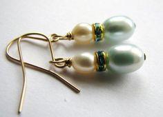 ON SALE Dainty Aqua Pearl Earrings Ivory Pearl by BelladonnasJoy