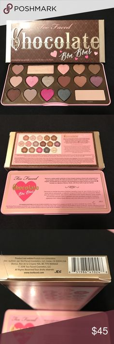 Too Faced Chocolate Bon Bons eyeshadow palette New Too Faced Chocolate Bon Bons eyeshadow palette New Authentic. Includes 16 matte and shimmer shades and delicious pops of color. Its a versatile neutral one swipe formula with that delicious chocolate smell. One of my favorite palettes I own. Sephora Makeup Eyeshadow