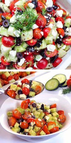 Easter Dinner Recipes, Salad Recipes For Dinner, Instant Pot Dinner Recipes, Dinner Salads, Cucumber Tomato Feta Salad, Tomato Salad Recipes, Healthy Salad Recipes, Healthy Side Dishes, Vegetable Side Dishes