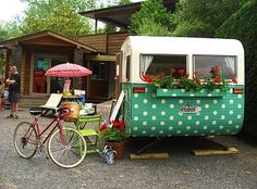 polka dot camper with green chair