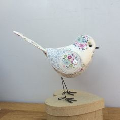 Handmade fabric bird. Tilda and vintage floral fabric. Etsy MadebyDiOsman
