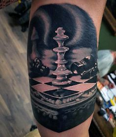 Mens Realistic 3d King Chess Piece Bicep Tattoo Designs