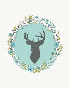 Deer Art Blue/Turquoise/Mint Watercolor by ChrissyODesigns on Etsy