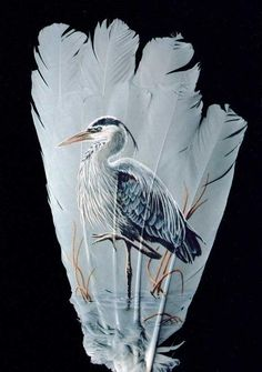 Hand Painted Feathers by Mark Ricker (Heron)