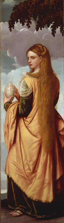 It's Mary Madalene so not a good source, but there's something wonderfula bout the sandalled feet peeking out from beneath a velvet dress. Love the fringed mantle as well. Moretto de Brescia Mary Magdalene, 1540/50 Oil on canvas