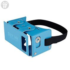 DAISEN 2016 Best New Waterproof PU leather DIY 3D VR Box Google Virtual Reality Headset Glasses Cardboard Movie Game for Smartphones with Headband (Blue) … (*Amazon Partner-Link)