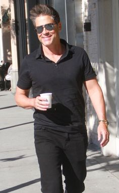 Rob Lowe from The Big Picture: Today's Hot Pics  Coffee break: The Grinder actor enjoys a cup of joe while shopping in Beverly Hills.