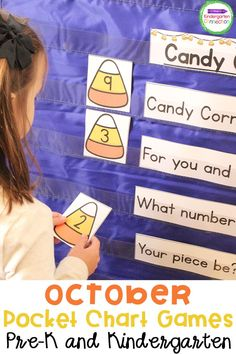 These October pocket charts will make organizing your Kindergarten or Pre-k classroom so much easier. If you're preparing your lesson plans, you can add these pocket chart games to your literacy centers or math centers. Your kids will love these pocket chart chants and games for learning letters, sounds, sight words - even names and numbers! Perfect for Halloween or fall literacy centers and circle time.