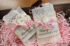 Glassine bags altered for #Valentine's Day - would also be cute as #party favors #crafts
