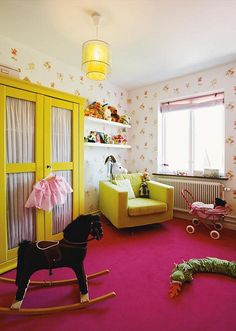yellow furniture with a hot pink carpet. Girls Bedroom, Girl Room, Bedrooms, Hot Pink, Yellow Nursery, Pink Carpet, Kid Spaces, Small Spaces, Fashion Room