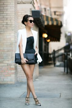 0d4f59c591ab White Cape Blazer Black Short Dress Leather Clutch Purse And Awesome  Studded Pumps