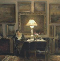 A lady reading by lamplight. Carl-Vilhelm Holsøe (Danish, Oil on canvas. Holsøe's painting stresses the material qualities and richness of the domestic surroundings. Reading Art, Woman Reading, Aarhus, Art And Illustration, Light Painting, Monet, Oeuvre D'art, Female Art, Les Oeuvres