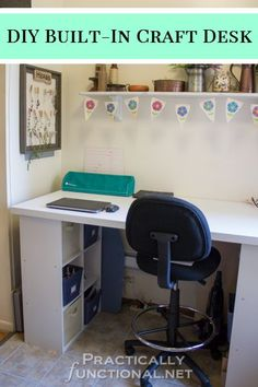DIY Furniture Tutorial: Make your own built-in craft desk with a door and cube storage shelves!