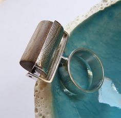Statement+ring+wooden+Sterling+ring+handcrafted+coctail+by+Mirma,+$165.00