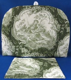 Tea Cozy Green Toile Padded US Made New With Trivet Cosy
