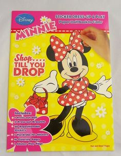 Disney Minnie Mouse Shop Till You Drop Sticker Dress-Up Paper Doll Book to Color #Dalmation