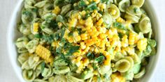 Avocado-Pesto Pasta Salad with Corn Recipe - pretty tasty even with using canned corn instead