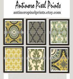 Ikat Collage Yellow Green Cream Art Wall Gallery Digital Print  -Set of (6) 8 x 10 -  Prints -  (UNFRAMED)