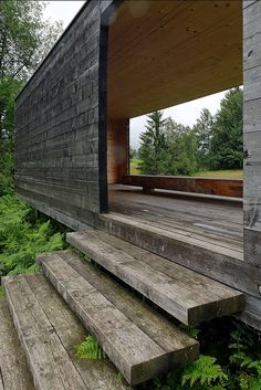 Moorraum Pavilion by Paul Steurer. Krumbach, Austria.  Like the stairs.