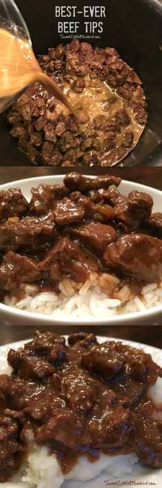 BEST-EVER BEEF TIPS- Tender beef cooked in a deliciously rich gravy, served over rice, mashed potatoes or egg noodles - a satisfying, filling meal the whole family will love. Simple to make comfort food that's easy to adapt to your taste! #BeefTips #Beef #Best #Recipe #MainDish Egg Noodles, Slow Cooker Recipes, Beef Recipes, Cooking Recipes, Beef Dishes, Food Dishes, Panes, Oven Steak, Steaks