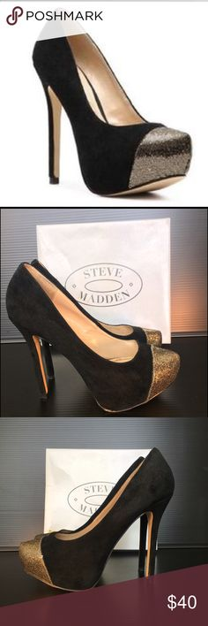Steve Madden P-Kavit Black Suede Platform Steve Madden black suede platform pump accented by a unique glitter cap toe perfect for a night out on the town or dinner with friends. Heel height approx 5.25 inch heel, 1.5 inch hidden platform. Fits 9.5 - 10. Box included. Steve Madden Shoes Platforms