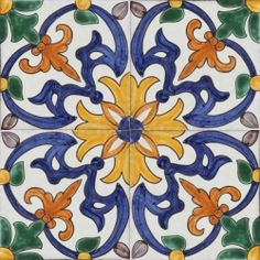 Antique Art Nouveau Tube Lined Majolica Ceramic Tile