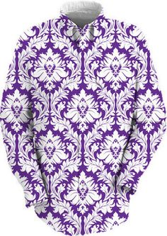 White on Purple Damask work shirt $89