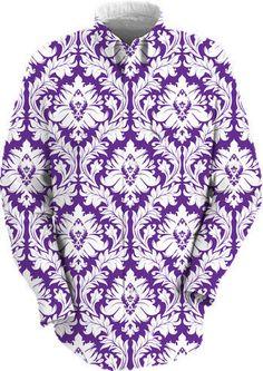 White on Purple Damask work shirt $89