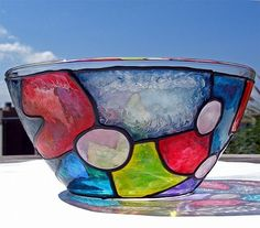 Art: Big Funky Stained Glass Bowl by Artist Diane G. Casey