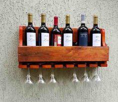 Adega De Madeira Para Vinhos E Whisky Com Porta Taças - R$ 49,90