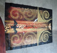 Robin Slow Kura Gallery Maori Art Design New Zealand Aotearoa Painting Whariki unstretched canvaS acrylic gold leaf kokowai Polynesian People, Altered Canvas, Maori Designs, New Zealand Art, Nz Art, Maori Art, Kiwiana, Silk Art, Mural Art