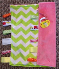 Binky blankie baby quilt minky baby blanket green pink baby