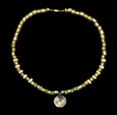 Viking Scandinavian Gold Foiled Glass Bead and Coin, 9th-11th century A.D.