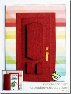 don't hate me because I'm beautiful door card by @Gretchen Schaefer using a Sizzix Door Opening and Wreath Door Die designed by Karen Burniston.