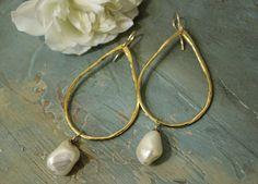 Gorgeous Tear Drop Hoop with Organic pearl by KathyGaiserJewels, $66.00