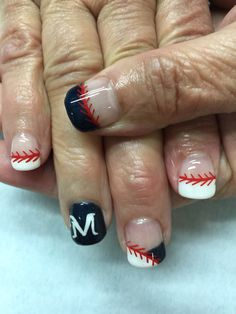 Milwaukee Brewer baseball nails. All done with non-toxic and odorless gel.