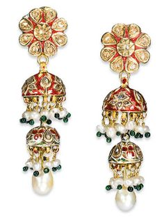 A SET OF ANTIQUE INDIAN DIAMOND, PEARL, EMERALD AND ENAMEL JEWELLERY   Designed as a textured gold band composed of table-cut pear-shaped diamond links, each with pearl, enamel and emerald bead surmount and suspending a similar fringe, the reverse decorated with polychrome enamel depicting birds, to the gold conic chain clasp of later addition, a pair of ear pendants en suite, Indian, late 19th Century
