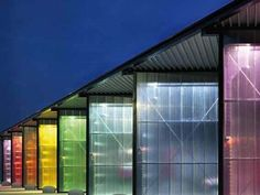 Translucent Building Elements in Facades is part of architecture - Translucent polycarbonate facades with excellent isolation and heatinsulation, available in a variety of colors Facade Lighting, Lighting Design, Booth Design, Wall Design, Polycarbonate Panels, Glass Facades, Construction Design, Facade Design, Facade Architecture