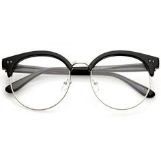 Women's Round Half Frame Clear Lens Cat Eye Glasses C023 ($15) ❤ liked on Polyvore featuring accessories, eyewear, eyeglasses, vintage style glasses, clear cat eye glasses, keyhole glasses, lens glasses and vintage style eyeglasses