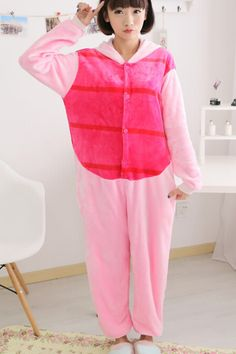 14892f49dd Pink Cute Ladies Comfortable Flannel Pajamas Piglet Jumpsuit Costume