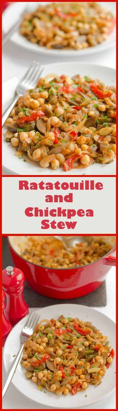 Deliciously tasty vegetarian stew where the chickpeas add protein to my variation of the classic traditional French Provencal stewed vegetable Ratatouille dish.